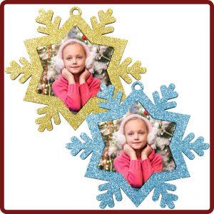Christbaunanhänger - Goldene oder Türkise Schneeflocke mit eigenem Foto